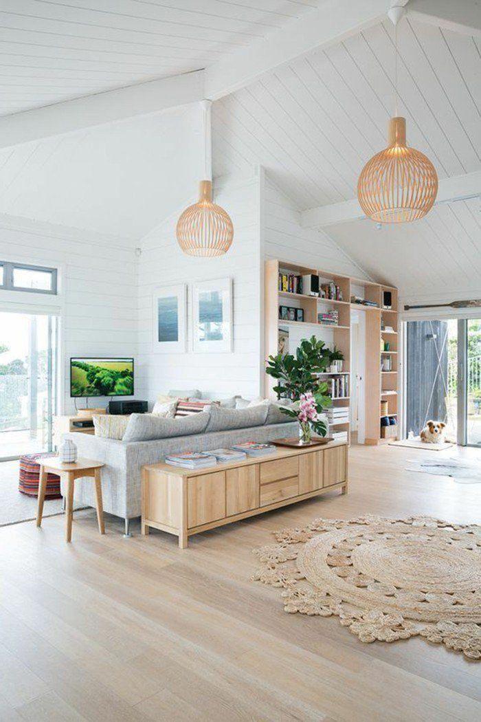 joli salon sous pente, sol en parquet teck clair pas cher, meubles ...