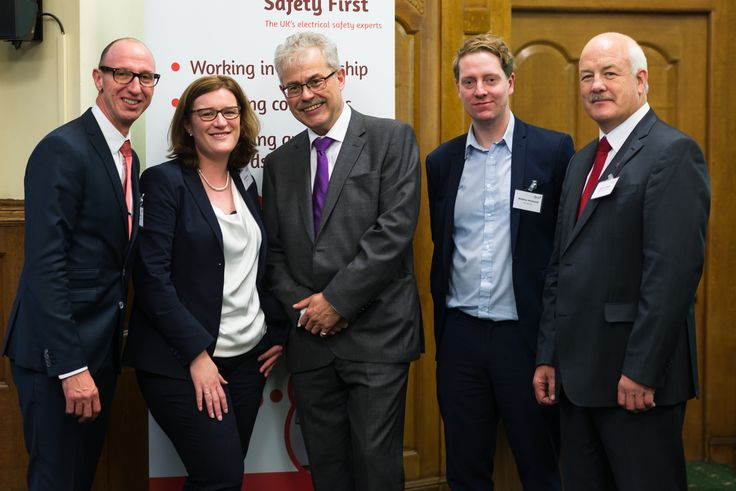 L-R: Martyn Allen (Electrical Safety First), Jill Paterson (Leigh Day), Phillip Buckle (Electrical Safety First), Matthew Newbould (Irwin Mitchell), Eamon O'Grady (UL)