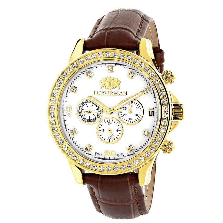 17 best ideas about mens diamond watches rolex luxurman liberty mens diamond watch yellow gold plated 2ct swiss mvt