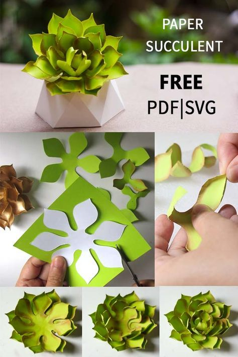 How to make paper succulent free PDF and SVG template