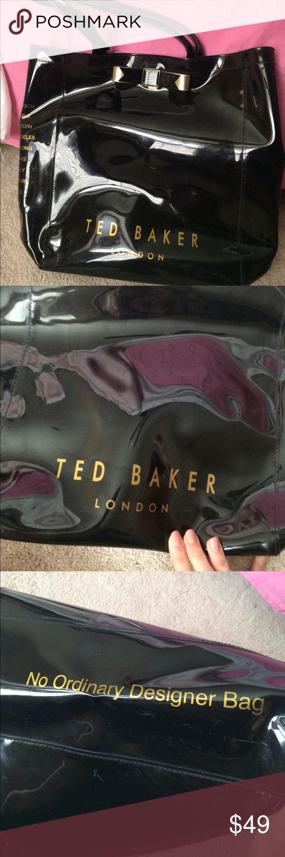 Ted Baker Large Icon Shopper Bag MAKE AN OFFER!! Ted Baker shopping bag with patent finish. Has bow with a gold colored finish. Logo on front, back, and inside of bag. 100% PVC. 22cm strap drop. 36 cm H x 24 cm W x 8.5 cm D. Must have for a diaper bag, school bag, book bag, travel bag, or carry on bag. Great for anyone who likes British fashion, kawaii fashion, Ariana Grande style or Gabriella Demartino style. *Bag has strap that is starting to come off, but can easily be fixed. Ted Baker…