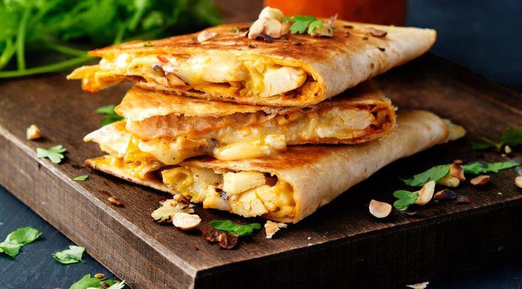 Quesadillas med blomkål og nøtter