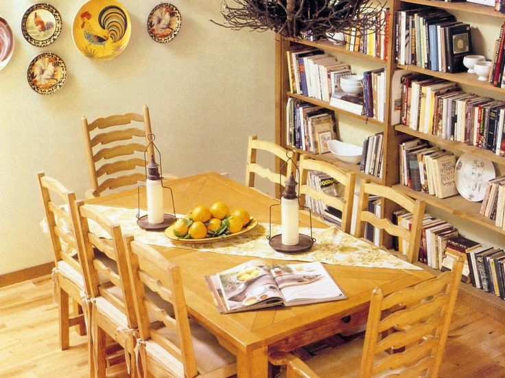This Pretty Country Dining Room Offers Form And Function Bookshelves Display Much Loved