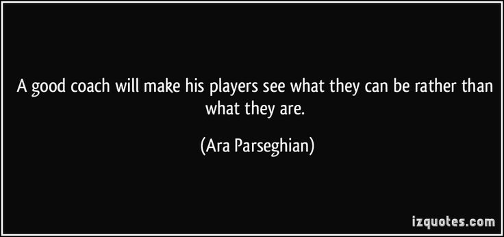 A good coach will make his players see what they can be rather than what they are. - Ara Parseghian