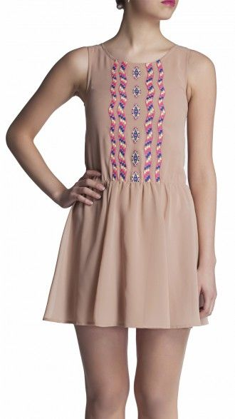 sbuys - Embroidered Dress #sbuys #spring #pastel #beige #beige #embroidery #aztec Shop now at www.sbuys.in
