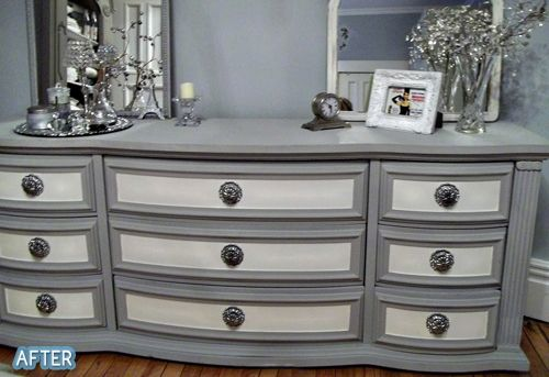 From plain clear finish to 2-toned   Annie Sloan Chalk Paint in Old White and Paris Gray. Gorgeous!