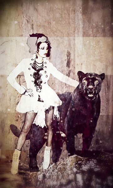 Pantherfrau - Mixed Media
