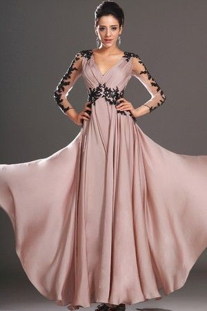 Pleated Bodice Fall Misses Long Thin Draped 3/4 Length Sleeves Evening Dress