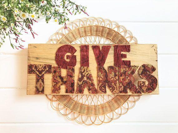 Give Thanks Sign  Fall Wood Sign  Harvest Sign