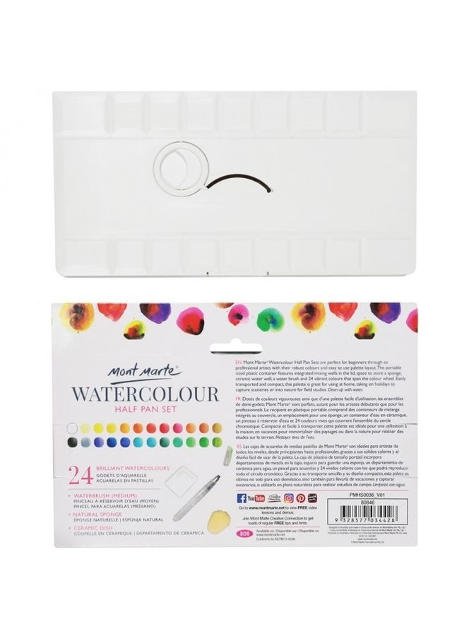 Details About Mont Marte Premium Watercolour Paint Half Pan Set