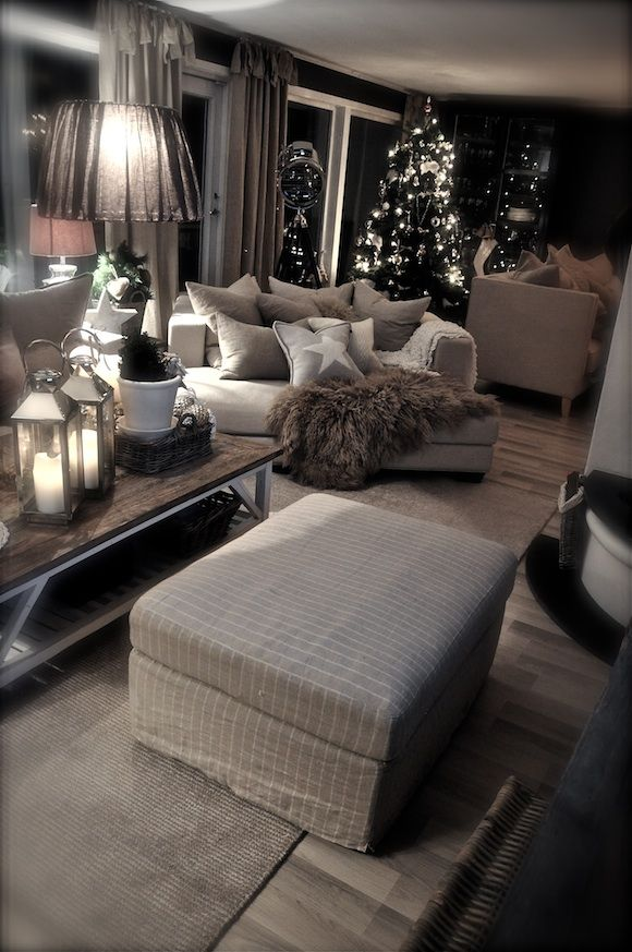 Love this furniture and design. (Minus the Christmas decor.) It looks so…