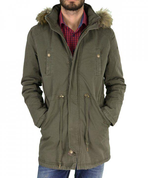 Ανδρικό μπουφάν παρκά Inox χακί μακρύ 16549F #χειμωνιατικαμπουφαναντρικα #εκπτωσεις #προσφορες #menjacket