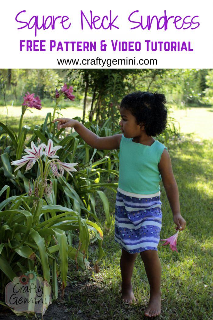 Crafty Gemini | Girl\u0027s Square Neck Sundress Pattern and Tutorial- 30 Days of Sundresses | & 147 best DIY Crafty Tutorials images on Pinterest | Crafty gemini ... pillowsntoast.com