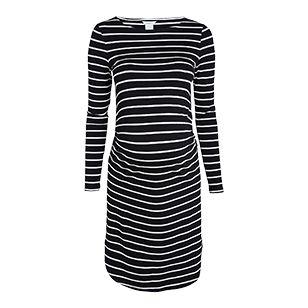 En mjuk och skön trikåklänning med klassiska ränder. Rynk i sidan av midjan gör passformen perfekt för den växande magen.