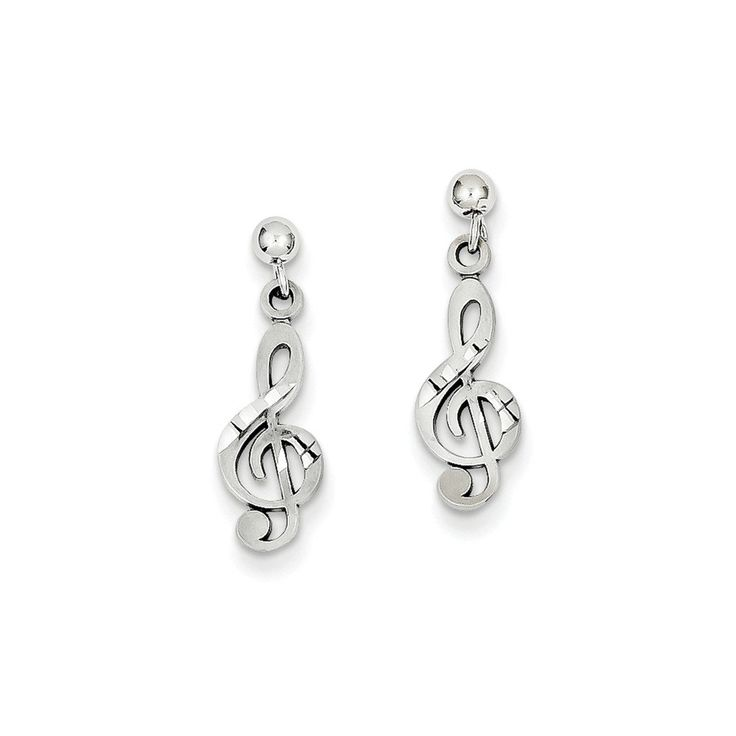 Roy Rose Jewelry 14K White Gold Treble Clef Dangle Earrings. Finest Quality from Roy Rose Jewelry. Selling Online Since 1999. 30 Day Return. 100% Satisfaction Guaranteed. Free Jewelry Box Included.