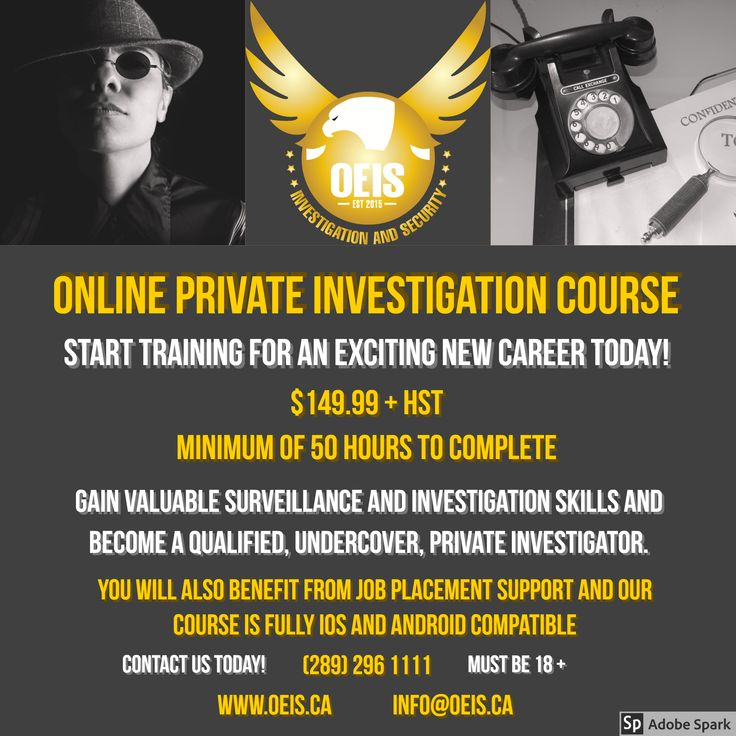 Stuck in a rut? We have the answer! This could be the start of an exciting new career! Sign up, for our online Private Investigation Course today! We even offer job placement support upon completion. Don't waste another minute!