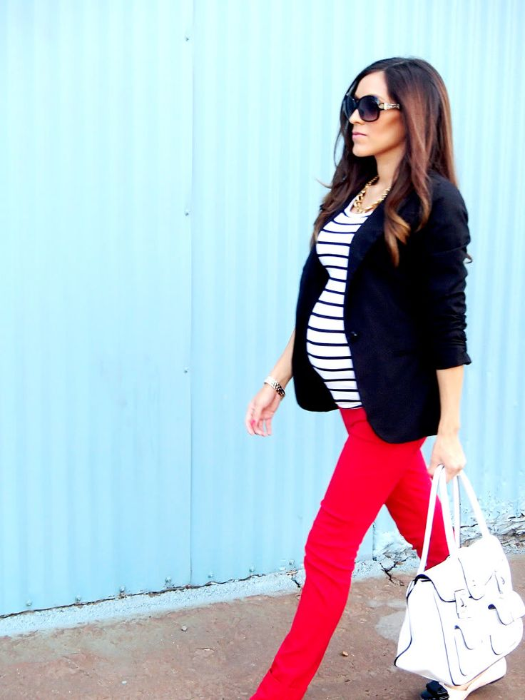 Blazer, striped shirt and a jeans in a fun and fresh color...perfect maternity style