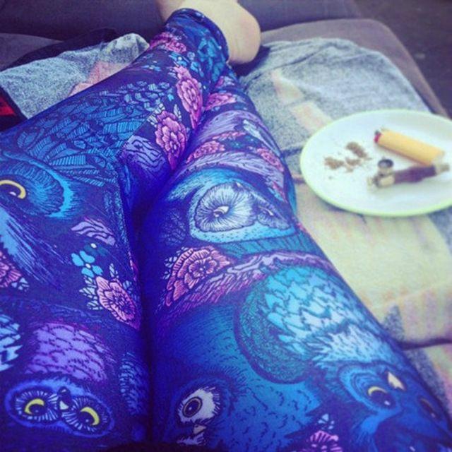 MultiFunS Fashion 2016 New Lady hip hop punk Owl Women's Leggings Elastic Soft Pencil Pants Leggins Slim Trouser Fitness Jegging