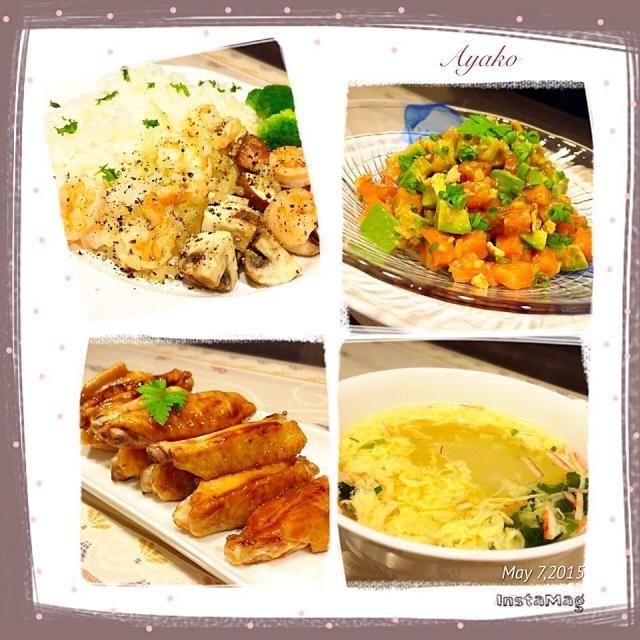 今日は、ハワイ料理です♡ 春雨を英語でロングライスというそうです(*^^*) - 37件のもぐもぐ - ガーリックシュリンプ丼、サーモンとアボカドのアヒポキ、鶏のスペアリブ、玉子のロングライススープ by ayako1015