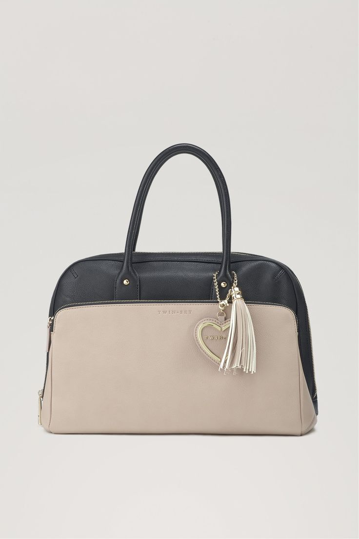 TWIN-SET Simona Barbieri: Two-tone #handbag with heart pendant