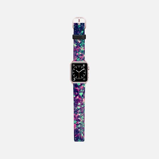 Pink, Black, and Teal Grunge Kaleidescope Camo Pattern - Saffiano Leather Watch Band