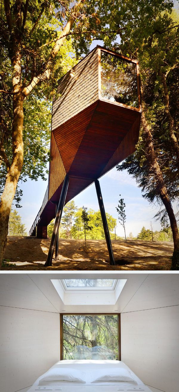 Tree Snake Houses. Located in Portugal, the structure gives an illusion of a snake gliding between the trees. The design uses materials that would blend in with its surroundings. The architects used a new technology which allows a weightless easy-carrying structure.