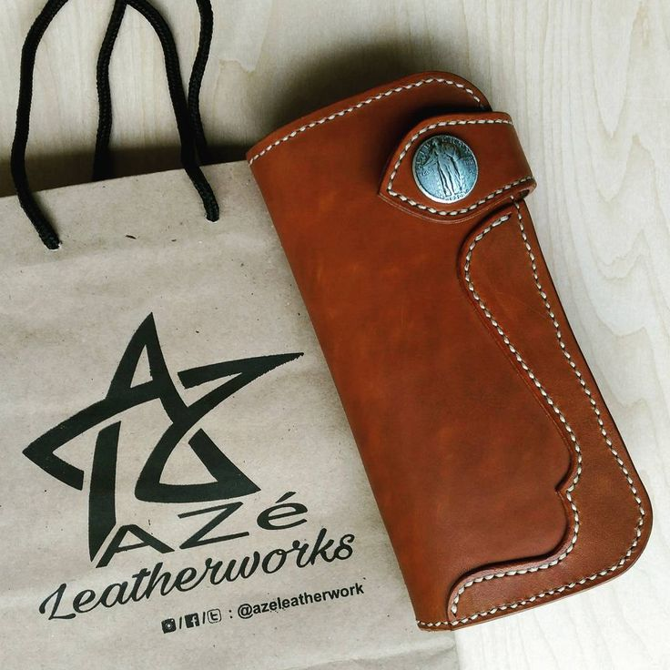 """18 Likes, 7 Comments - AZé Leatherworks (@azeleatherwork) on Instagram: """"""""BIKER LONG WALLET"""" ••• Material Descriptions : - Indonesian Vegetable Tanned Leather - Hand dyed…"""""""