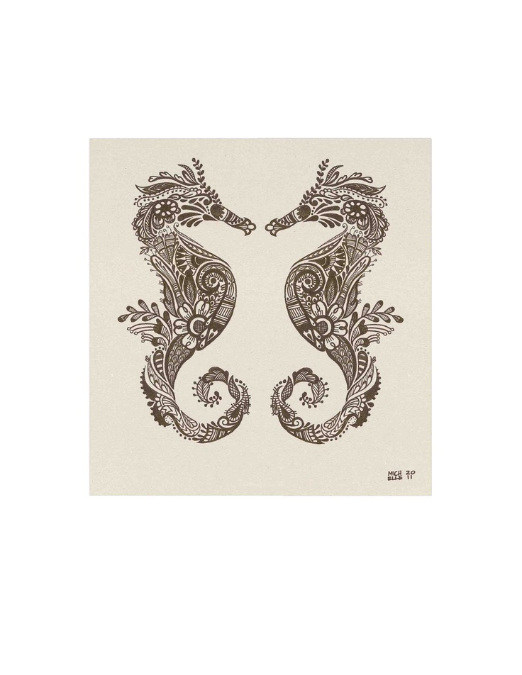 "Mehndi style Seahorses Print from my Original Nautical Illustration - 8""x10"". $13.00, via Etsy."
