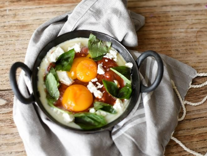 Baked Chilli Eggs With Feta And Basil