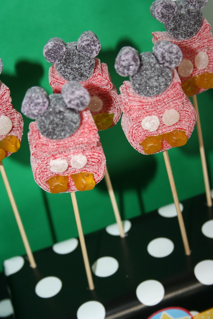 Mickey Mouse candy kabobs by Sweets from Heaven, Outlets at Orange  https://www.facebook.com/pages/Sweets-from-Heaven-Outlets-at-Orange/161851840516150?fref=ts