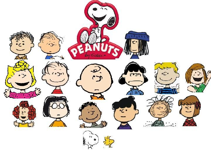 "The major characters of Peanuts. Top left to bottom right: Shermy, Rerun, Eudora, Sally, Linus, Charlie Brown, Lucy, Schroeder, Peppermint Patty, Frieda, Marcie, Franklin, Violet, ""Pig-Pen"", Patty, Snoopy and Woodstock."