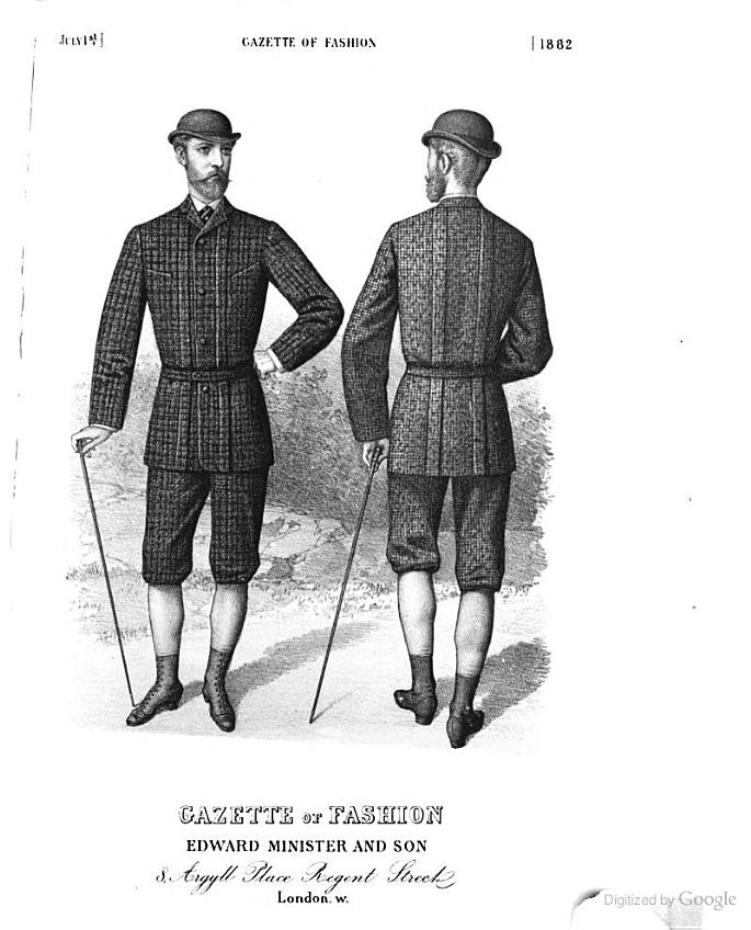 Men's Knickerbockers- pants cut with loose legs and belted into a band that buckled just below the knee. (1882 Gazette of Fashion.)