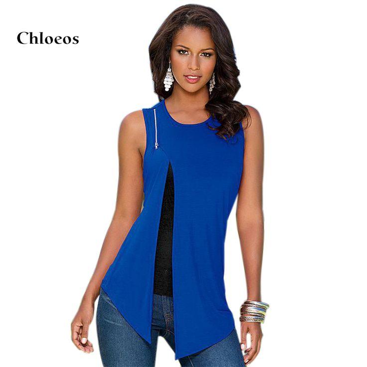 CHLOEOS 2017 Summer Tops Shoulder Zipper Design O-Neck Sleeveless Women  Front Split t-