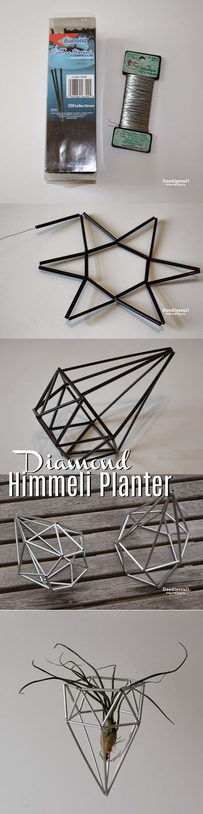 Diamond Himmeli Planter! Since April is the month of diamonds, I thought this fitting! Perfect for hanging up air plants or just plai...