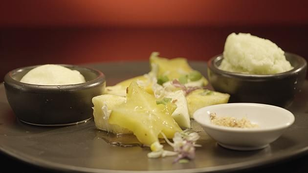 Chilli Salt Fruits with Green Mango and Pineapple Sorbets