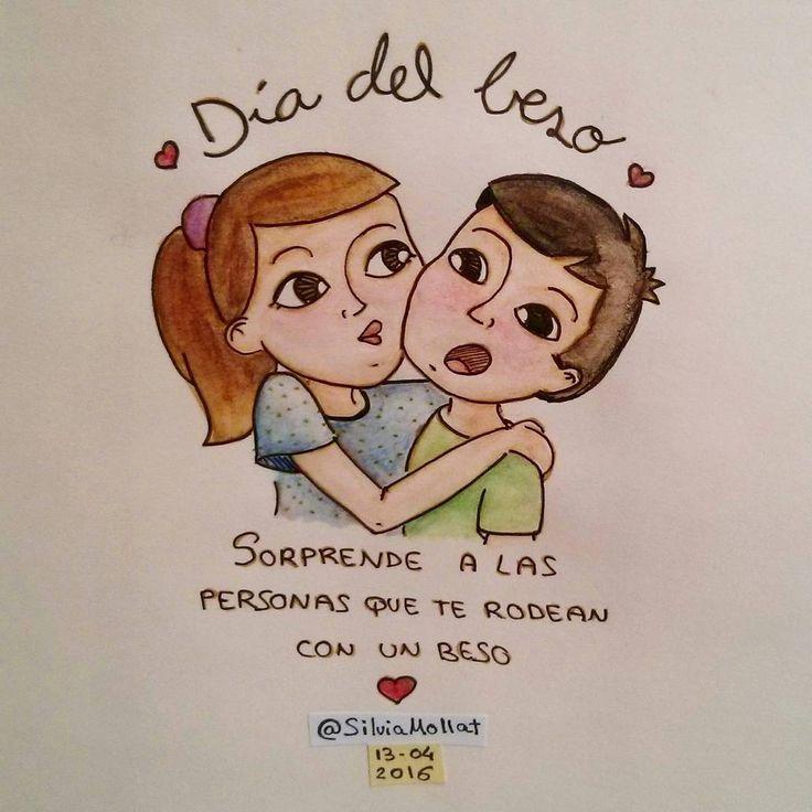 """""""Ataque de besos!! Feliz día internacional del beso! :* #undibujoparacadadía #80 #beso #love #mua #kiss #internationalkissingday #illustration #design #art…"""""""