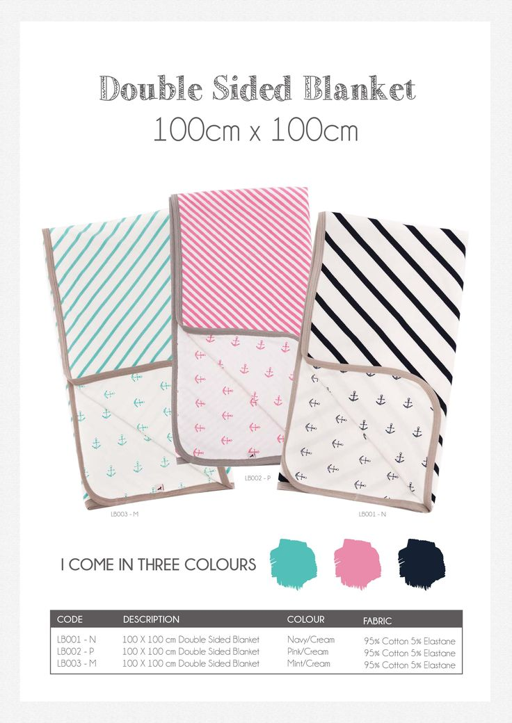 Li'l Zippers: Baby Gift Idea Double Sided Blanket Colours: Navy/Cream, Pink/Cream, Mint/Cream 95% Cotton 5% Elastane
