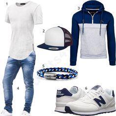 Weiß-Blaues Damen-Outfit mit Bolf Hoodie, Trucker Cap, Fischer's Fritze Armband und New Balance Sneakern, Hemoon Shirt, Leif Nelson Jeans. #outfit #style #fashion #menswear #mensfashion #inspiration #shirts #weste #cloth #clothing #männermode #herrenmode #shirt #mode #styling #sneaker