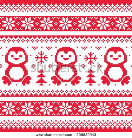 Christmas, winter knitted pattern with penguins - Scandinavian sweater style  by RedKoala #xmas #sweater