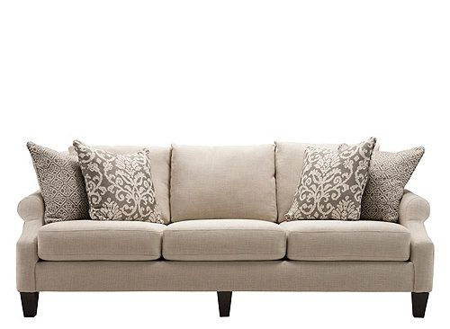 Classic and contemporary elements abound in this Tatiana chenille sofa.  Sloped, crescent-shaped · Living Room ... - 66 Best Images About Living Room Furniture On Pinterest