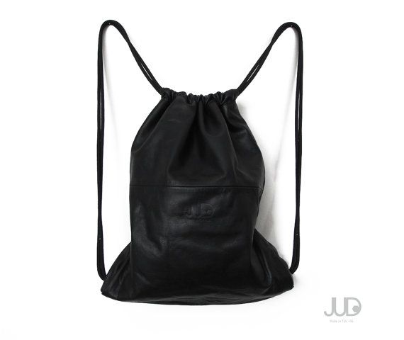 Black leather backpack  multiway leather bag SALE sack by JUDtlv