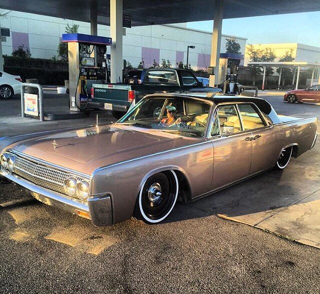 Then this happened in Cali today  @coniron and his partner in crime @dj_megan_daniels, out for a cruise  Rollin' on @mobsteel @detroitsteelwheelco , @viaircorp and @accuair #1963lincolncontinental...