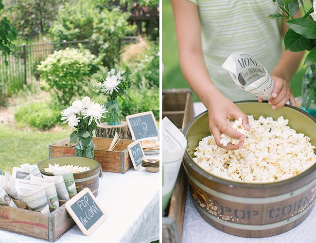Backyard Movie Party with popcorn and rustic details