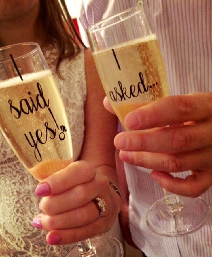 Engagement Champagne Flute Set with Custom Designed I asked.. And I said yes! With engagement ring decal Available in Gold, Black, Off White, or White script lettering. We can also make these in stemless champagne glasses for $20/set here: https://www.etsy.com/listing/450281220/engagement-steml