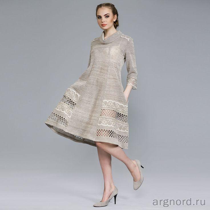 Льняное платье с кружевом - Арт. 16016 - Волтри