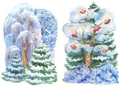 Зимние деревья картинки для детей в детском саду