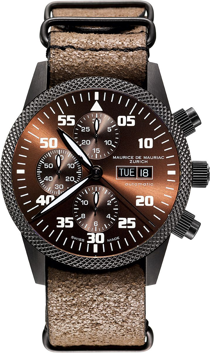 The latest Chronograph Modern Watch from Maurice de Mauriac, with vintage leather strap. http://www.mauricedemauriac.ch/index.php