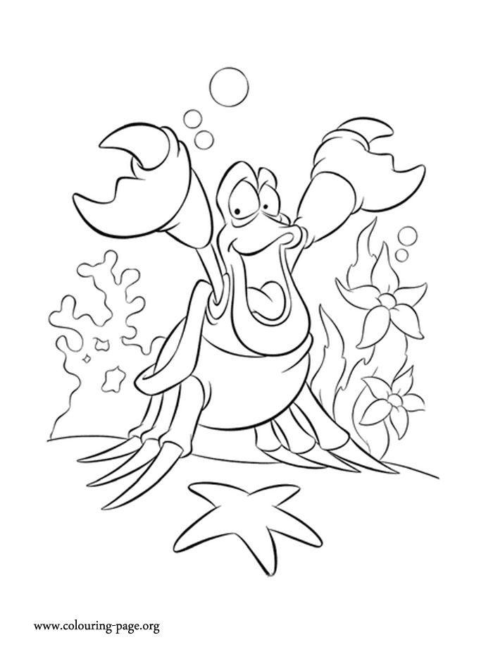meet sebastian the crab he is a character from the little mermaid movie disney coloring pageskids