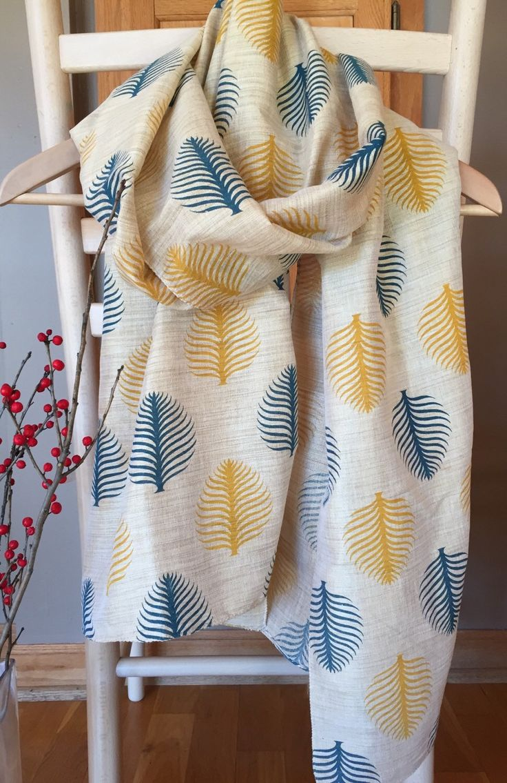 block print silk scarf, raw silk votton blend natural tan color fabric with mustard yellow and blue tree print, silk scarf, indian silk wrap by peepaltr on Etsy https://www.etsy.com/listing/256921969/block-print-silk-scarf-raw-silk-votton