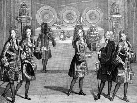 Antoine Trouvain, Sixième chambre des appartements, 1694, gravure : 53 × 44,6 cm, in Les appartements de Louis XIV, A. Trouvain, Paris, 1694. Versailles, bibliothèque municipale, rés. Lebaudy, gd in-fo 12, fo 6.